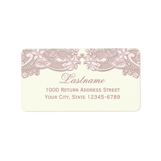 Blush Rose Pink Floral Lace Vintage Design Address Label