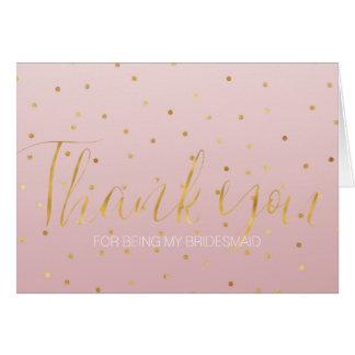 Blush Rose Pink Gold Confetti Sparkle Bridesmaid Card
