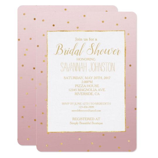 Blush Rose Pink Gold Confetti Sparkle Card