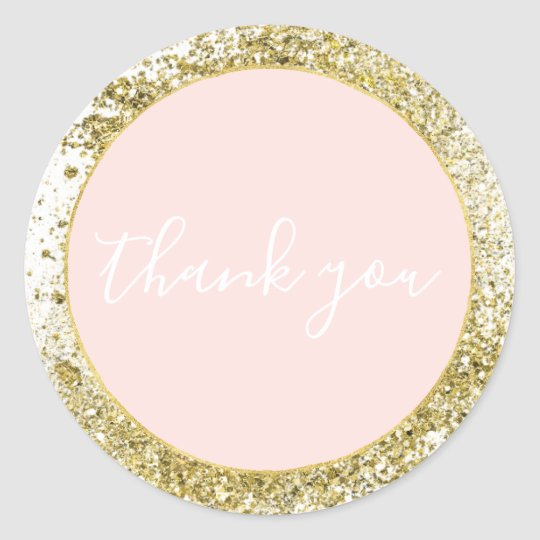Blush Rose Pink Gold Confetti Sparkle Faux Glitter Classic Round Sticker