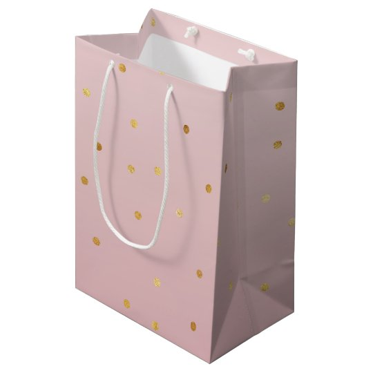 Blush Rose Pink Gold Confetti Sparkle Medium Gift Bag