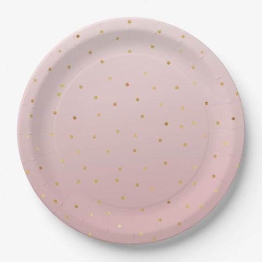 Blush Rose Pink Gold Confetti Sparkle Paper Plate