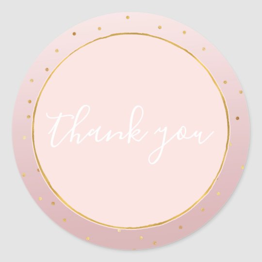 Blush Rose Pink Gold Confetti Sparkle Thank you Classic Round Sticker