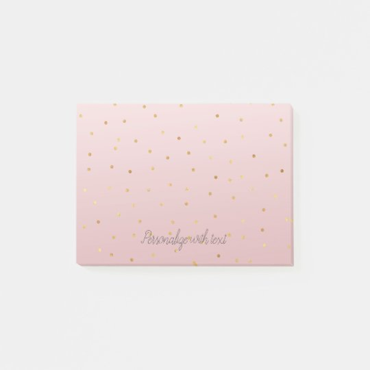Blush Rose Pink Ombre Gold Confetti Sparkle Post-it Notes