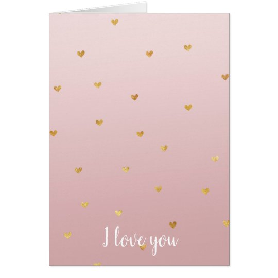 Blush Rose Pink Ombre Gold Hearts Card