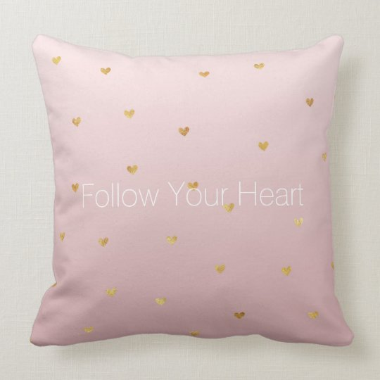 Blush Rose Pink Ombre Gold Hearts Cushion