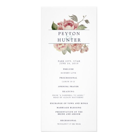 Blush Rose Wedding Ceremony Program Rack Card