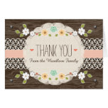 BLUSH RUSTIC FLORAL BOHO BABY SHOWER THANK YOU NOTE CARD