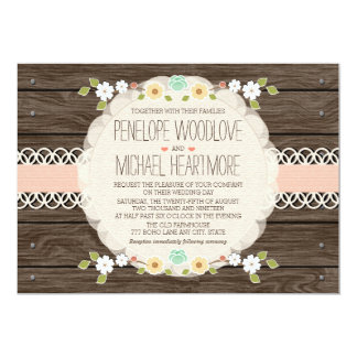 BLUSH RUSTIC FLORAL BOHO WEDDING INVITATIONS