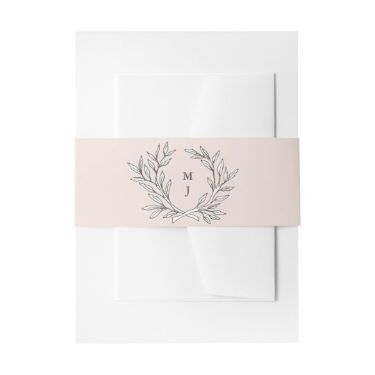 Blush Rustic Monogram Wreath Invitation Belly Band