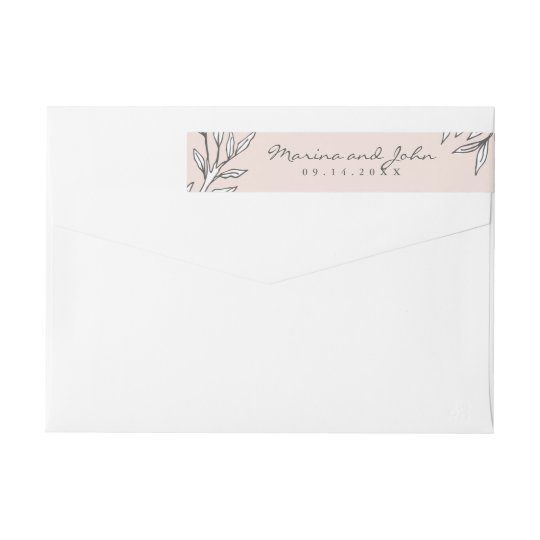 Blush Rustic Monogram Wreath Invitation Envelope Wrap Around