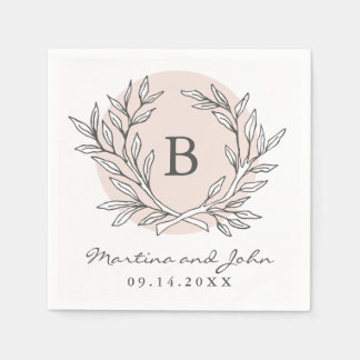 Blush Rustic Monogram Wreath Paper Cocktail Napkin Paper Napkin