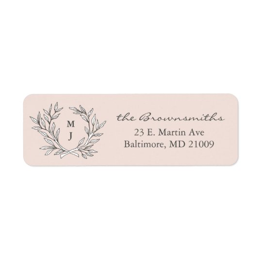 Blush Rustic Monogram Wreath Return Address Label