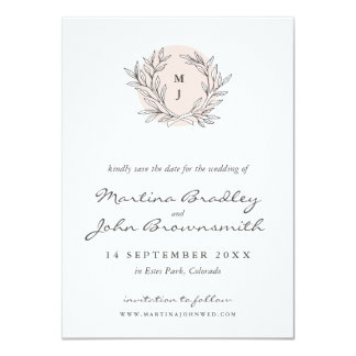 Blush Rustic Monogram Wreath Save the Date Card