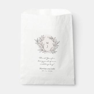 Blush Rustic Monogram Wreath Wedding Favor Bag