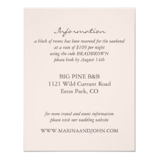 Blush Rustic Monogram Wreath Wedding Info Card