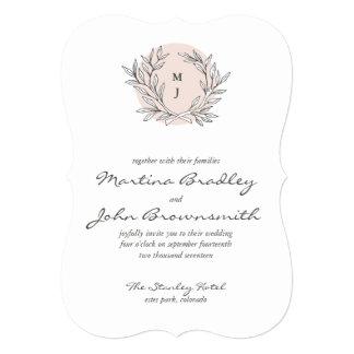 "Blush Rustic Monogram Wreath Wedding Invitation 5"" X 7"" Invitation Card"