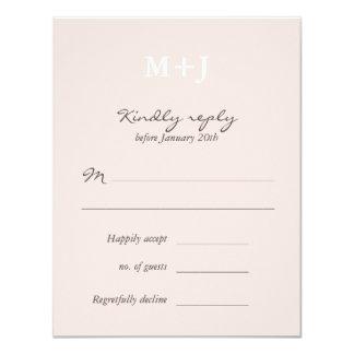 Blush Rustic Monogram Wreath Wedding RSVP reply Card