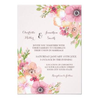 Blush Rustic Pink Flowers Wedding Invitations