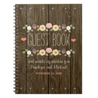 Blush Rustic Wood Fall Wedding Guest Book Notebooks