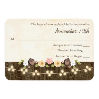 Blush String of Lights Acorn Rustic Wedding RSVP 9 Cm X 13 Cm Invitation Card
