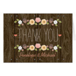 Blush String of Lights Fall Rustic Thank You Note Card