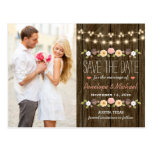 Blush String of Lights Rustic Fall Save the Date Postcard