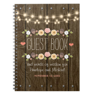 Blush String of Lights Rustic Fall Wedding Guest Note Books