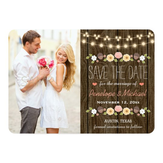 Blush String of Lights Rustic Save the Date