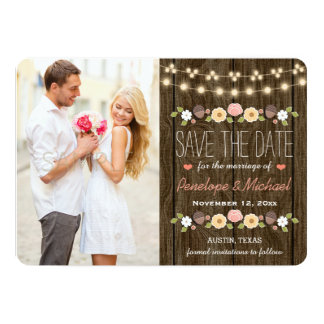 Blush String of Lights Rustic Save the Date Card 13 Cm X 18 Cm Invitation Card