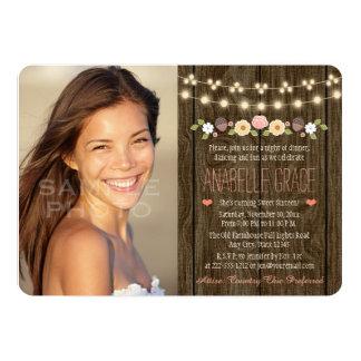 Blush String of Lights Rustic Sweet Sixteen 13 Cm X 18 Cm Invitation Card