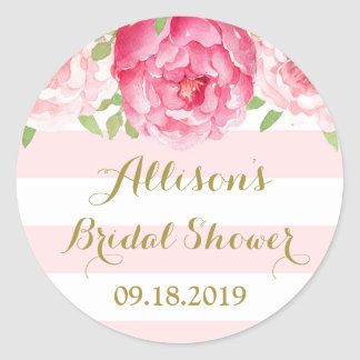 Blush Stripe Pink Floral Bridal Shower Favor Tag