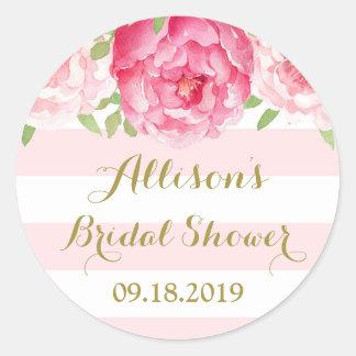 Blush Stripe Pink Floral Bridal Shower Favor Tag