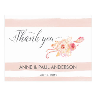 Blush stripes and floral Thank You Card Postcard