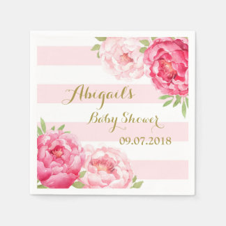 Blush Stripes Pink Watercolor Baby Shower Napkins Paper Napkin