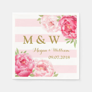 Blush Stripes Pink Watercolor Wedding Monogram Disposable Napkins