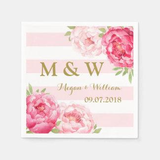 Blush Stripes Pink Watercolor Wedding Monogram Disposable Serviette