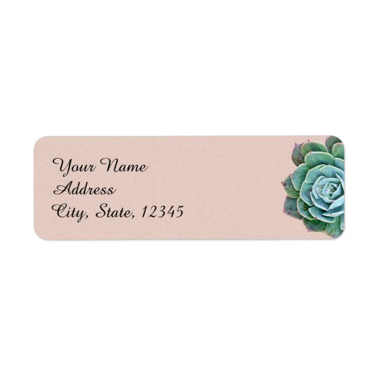 Blush Succulent Wedding Label Return Address Label