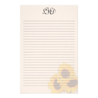 Blush Sunflowers Lined Monogram Writing Paper