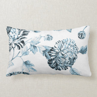 Blush Teal Blue Botanical Floral Toile No.2 Lumbar Cushion