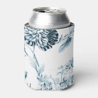 Blush Teal Blue Vintage Botanical Floral Toile No2 Can Cooler