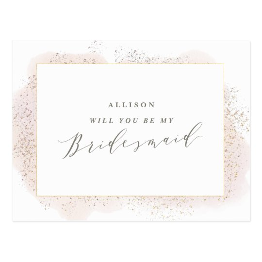 BLUSH TOUCH BRIDESMAID POSTCARD. POSTCARD
