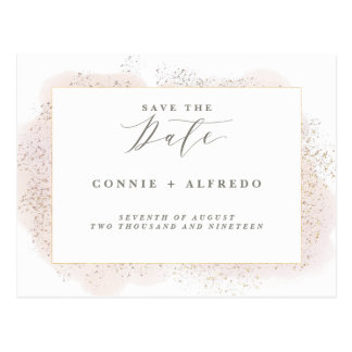 BLUSH TOUCH SAVE THE DATE POSTCARD. POSTCARD
