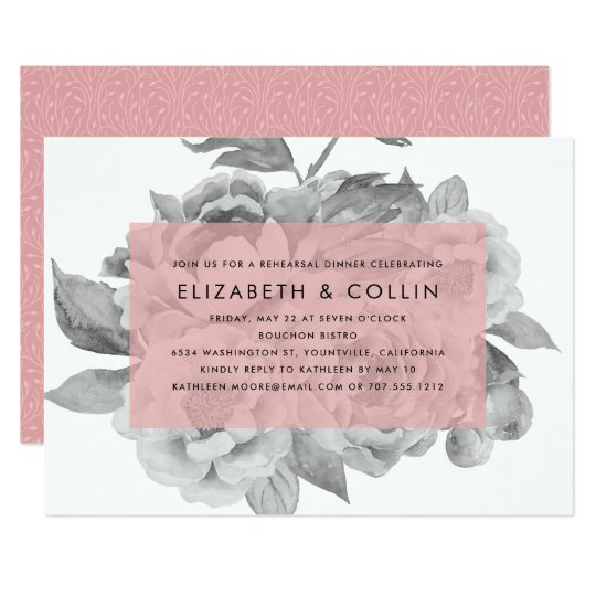 Blush Vintage Floral Rehearsal Dinner Invitation