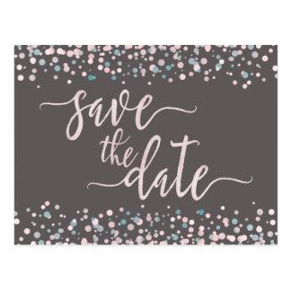 Blush Watercolor Confetti Wedding Save the Date Postcard