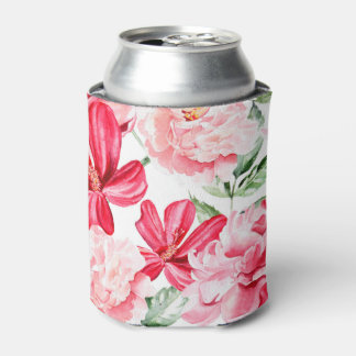 Blush Watercolor Floral Pattern Can Cooler