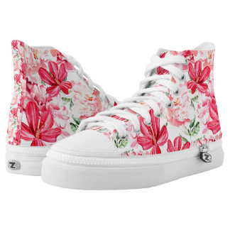 Blush Watercolor Floral Pattern High Tops