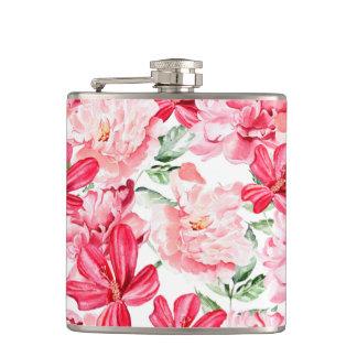 Blush Watercolor Floral Pattern Hip Flask