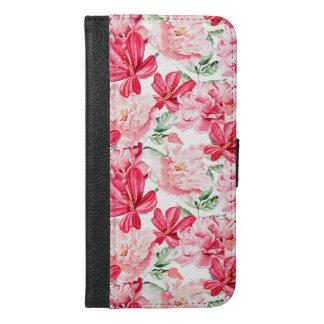 Blush Watercolor Floral Pattern iPhone 6/6s Plus Wallet Case