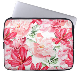 Blush Watercolor Floral Pattern Laptop Sleeve